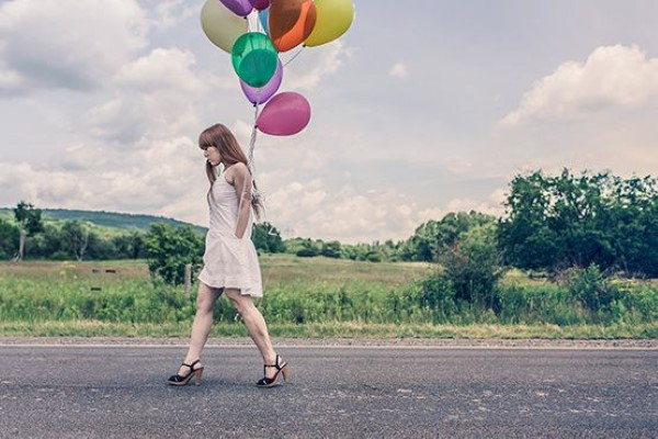 Woman & Colorful Balloons Free Photo
