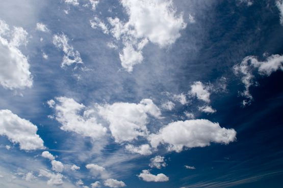 Clear Blue Sky & White Clouds Free Photo