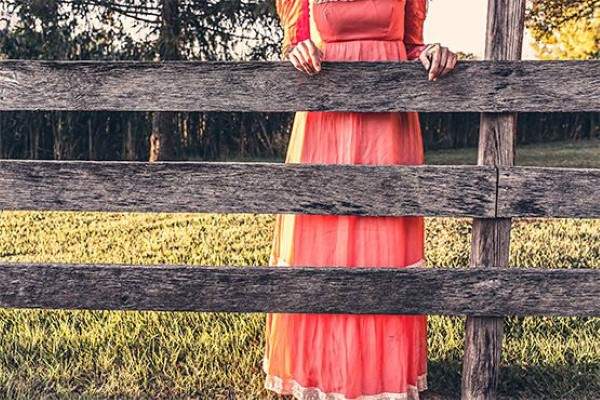 Red Dress & Wood Fence Free Photo