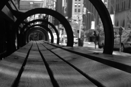 Black & White Park Bench Free Photo