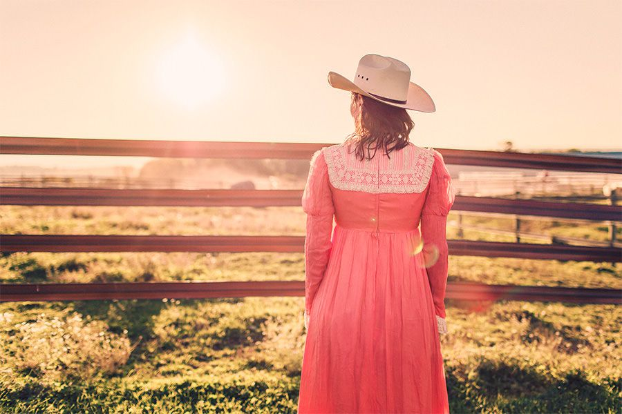 Woman Red Dress at Sunset Free Photo