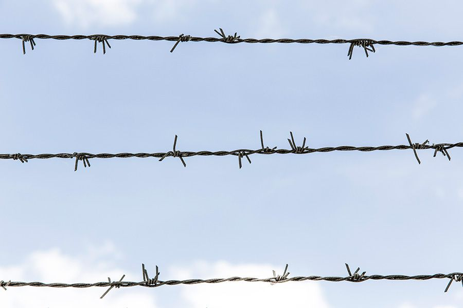 Barbed Wire Blue Sky Free Photo