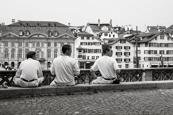 Boys Sitting on a Wall Free Photo