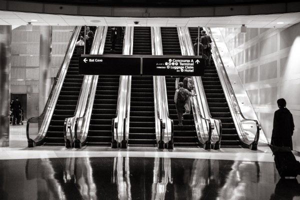 Black & White Escalators Free Photo