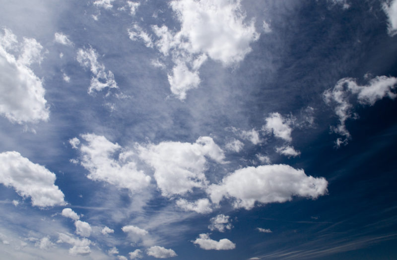 Clear Blue Sky & White Clouds Free Stock Photo