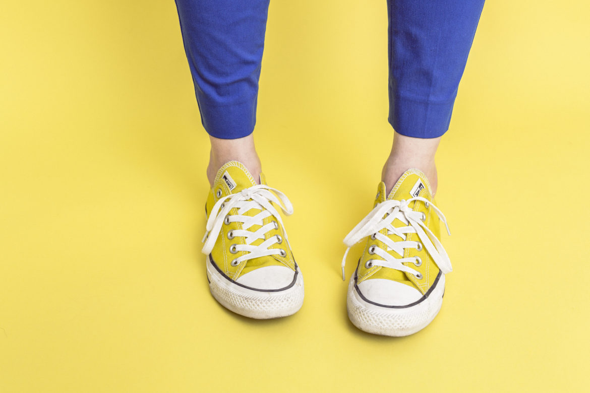 Yellow Sneakers & Backgound Free Photo
