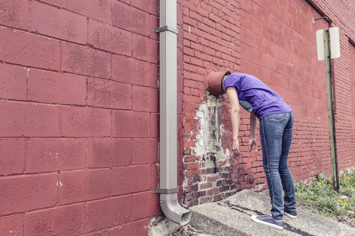 Stuck in the Wall Free Stock Photo