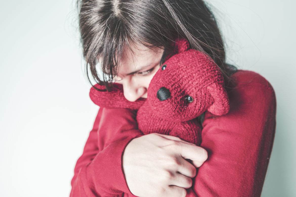 Girl Hugging Teddy Free Photo