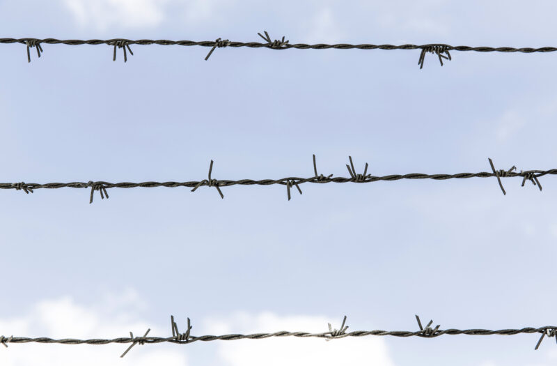 Barbed Wire Blue Sky Free Stock Photo