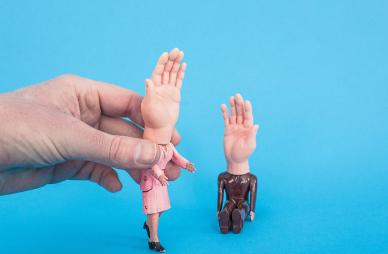 Silly Man & Woman Hands Free Stock Photo
