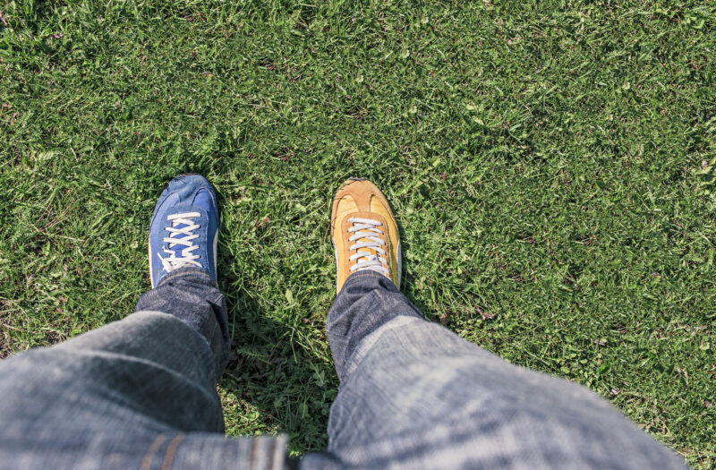 Yellow & Blue Sneakers Free Stock Photo