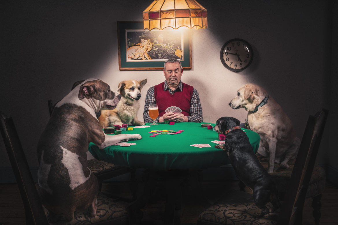 Man & Dogs Playing Cards Free Photo