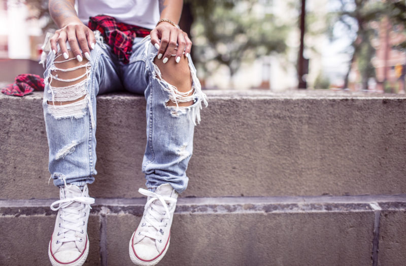 Ripped Jeans in the Summer Free Photo