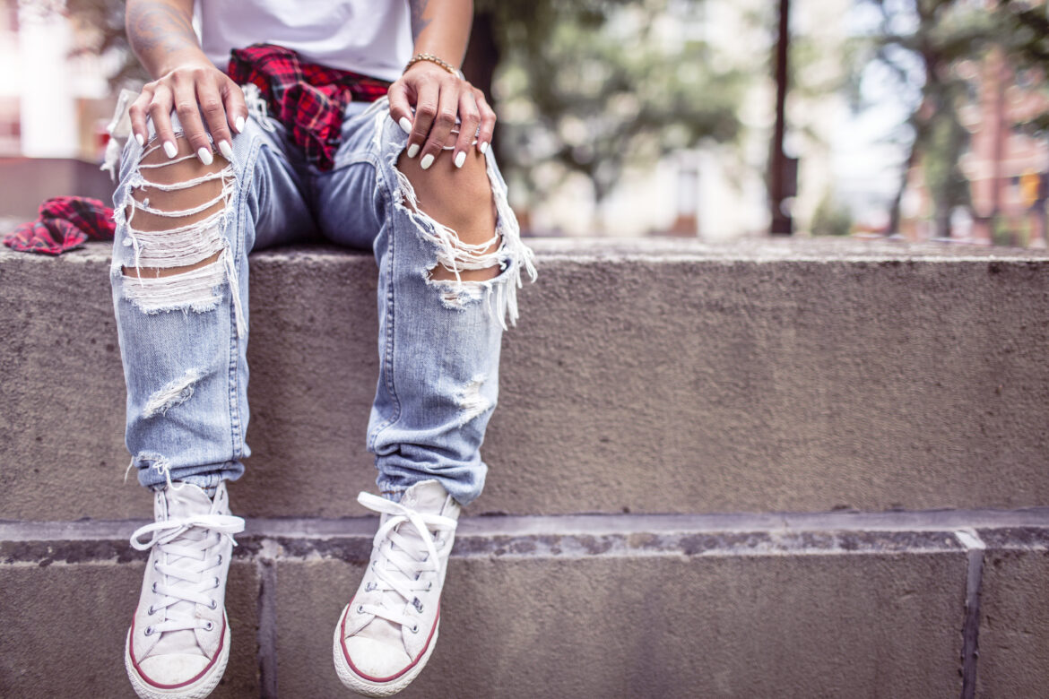 Ripped Jeans in the Summer Free Stock Photo