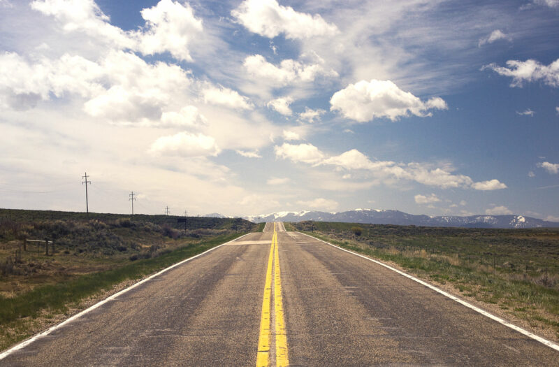 View Lonely Road with Blue Sky Free Stock Image