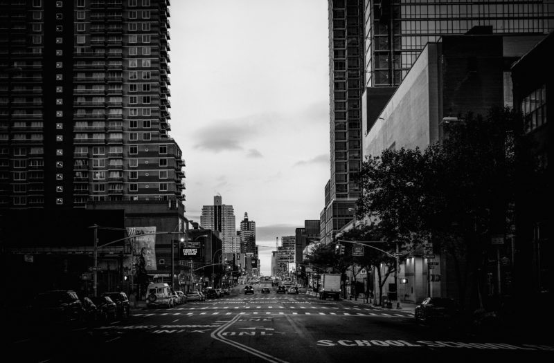 Black & White City Street Free Stock Photo