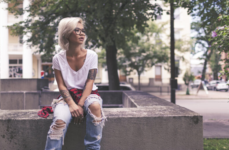 Girl Ripped Jeans Free Stock Photo