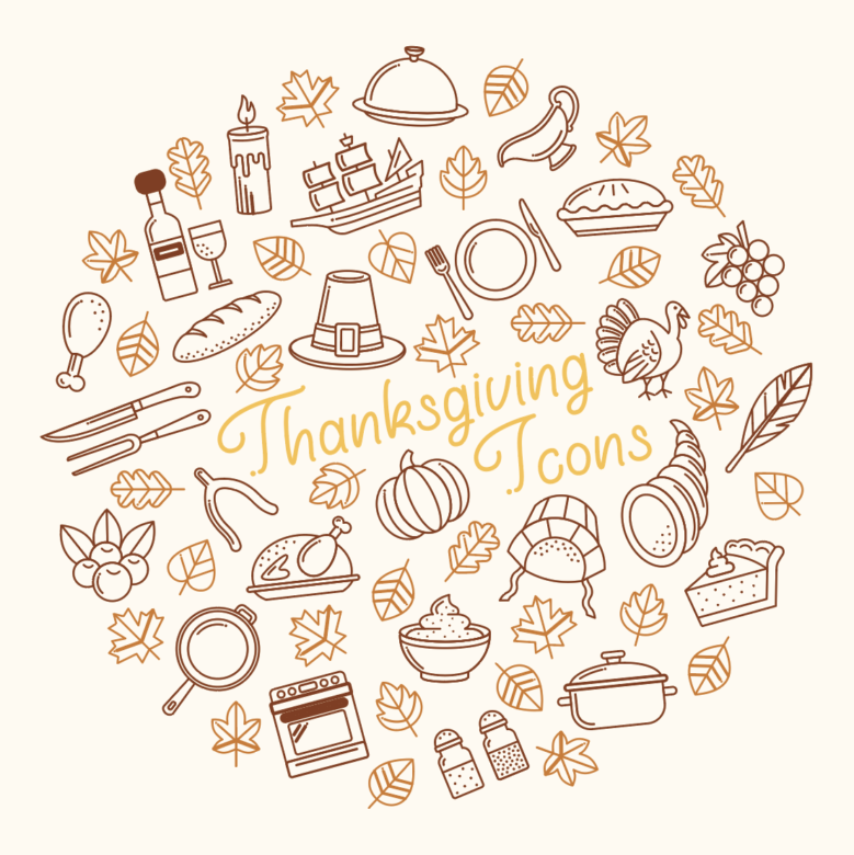 Thanksgiving Icons Free Stock Vector