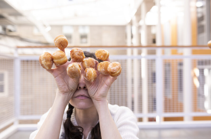 View Woman with Donuts Free Stock Image