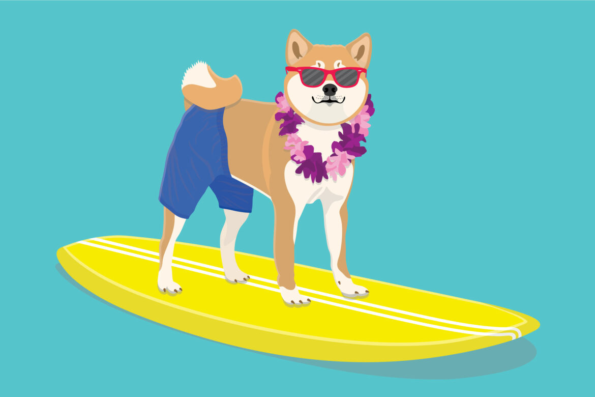 Dog and Surfboard Free Stock Vector