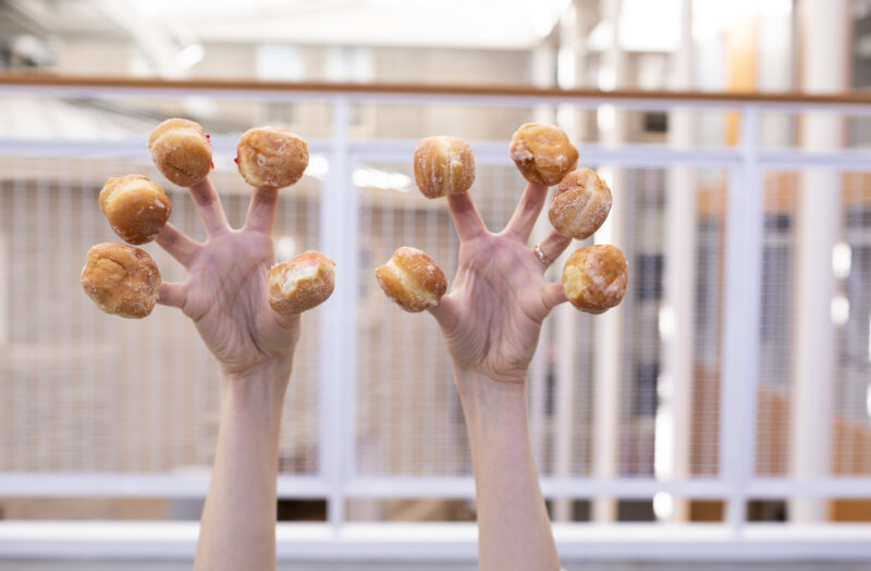 View Donuts in hand Free Stock Image