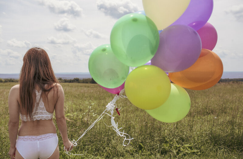 Girl with Balloons Free Stock Photo
